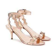 Loeffler Randall - Reina kitten heel sandal in rose gold mirrored leather Crazy Shoes, On Shoes, Me Too Shoes, Shoes Heels, Strappy Shoes, Flats, Gold Kitten Heels, Kitten Heel Sandals, Sandal Heels