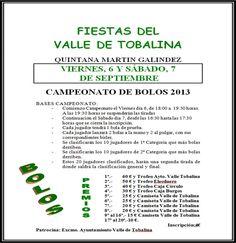 6 y 7 de Septiembre.Campeonato de Bolos. Quintana Martin Galindez Lss Merindades