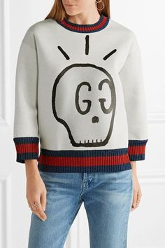 a7af1cb82c1 Gucci - Metallic-trimmed Printed Neoprene Sweatshirt - Light gray