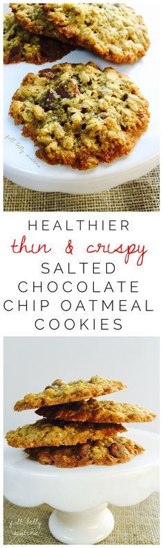 These Thin & Crispy Salted Chocolate Chip Oatmeal cookies taste decadent but are packed with lots of healthy ingredients!