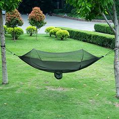 isYoung Parachute Fabric Hammock with Mosquito Net Cover, Durable and Portable , Suit for 2 Persons, Outdoors (Black / Army Green) Outdoor Store [gallery]   Features:    [1].The traveling hammock is measured by 114.2*57.1inches, roomy space for relaxing.   [2].The hammock is weight limit at 440.9Ibs, stronger to hold up two adults.   [3].The portable hammock is made of 70D parachute nylon fabric, durable, breathable and antibacterial.   [4].The hammock net come with two steel carabiners and…