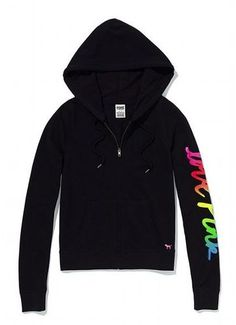 Victoria Secret PINK Black Rainbow Campus Perfect Zip Hoodie L Sold Out NWT NEW