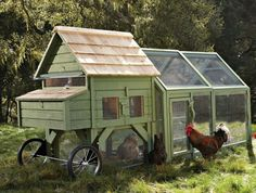 Want to keep chickens but don't want to build your own coop? Williams Sonoma is selling the Bentley of chicken tractors. City Chickens have officially gone mainstream. If the idea of building your own coop seems expensive, daunting, and well, impossi Chicken Coop Run, Portable Chicken Coop, Chicken Tractors, Building A Chicken Coop, Chicken Coup, Chicken Pen, Chicken Feeders, Mobile Chicken Coop, Chicken Shelter