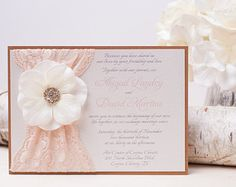 VINTAGE GLAMOUR: Lace Wedding Invitation Blush by peachykeenevents