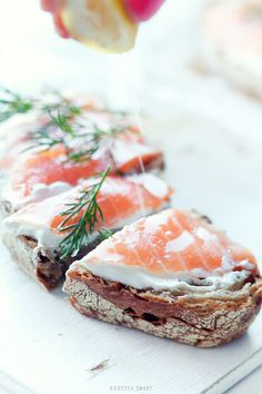 Sandwich with smoked salmon  cream cheese and dill