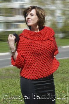 """Купить свитер """"Клубничное танго"""" - красный свитер, яркий свитер, Авторский дизайн, нарядный свитер"""