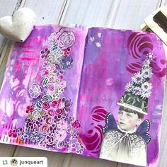We heart @junqueart's newest journal spread with @raemissigman's Modern Buds and @mbshaw's Hash Marks! #stencilgirl
