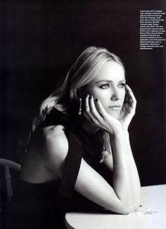 Naomi Watts for Harper's Bazaar: Beautiful b/w portraiture of Naomi Watts by Hugh Stewart.