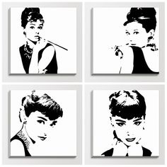 Pop Art Poster Black And White Abstract audrey hepburn black Audrey Hepburn Kunst, Audrey Hepburn Painting, Audrey Hepburn Decor, Audrey Hepburn Poster, Posca Art, Pop Art Posters, Poster Design, Silhouette, Stencil Art