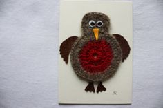 Chirpy crocheted Robin card Bird Card Child's by AppleAndBlossom, £3.50