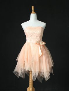 Peach chiffon handkerchief dress