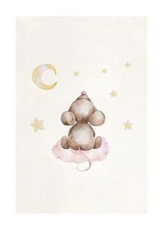 A cute illustrated children's print of a baby mouse sitting on a cloud counting the stars. The motif is painted in watercolor and has a beautiful texture in the background. This print is available in a series that you can mix and match into a cute little Teddy Bear Pictures, Cute Baby Pictures, Baby Mouse, Cute Mouse, Mickey Mouse Wallpaper, Bear Wallpaper, Mouse Illustration, Watercolor Illustration, Baby Prints