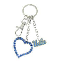 UCLA Love Keychain with Light Blue Heart