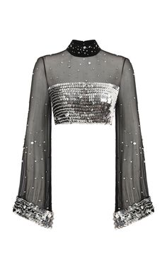 Strass Embellished Black Crop Top by Raisa Vanessa Stage Outfits, Kpop Outfits, Mode Outfits, Indian Dresses, Indian Outfits, Mode Kpop, Indian Designer Wear, Saree Blouse Designs, Black Crop Tops