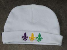 Mardi Gras White Beanie Hat Fleur de lis by girlslovebows on Etsy https://www.etsy.com/listing/191793765/mardi-gras-white-beanie-hat-fleur-de-lis