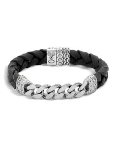 Classic Chain Men\'s Bracelet with Leather Strap by John Hardy at Neiman Marcus. Classic Chain Men\'s Bracelet with Leather Strap by John Hardy at Neiman Marcus. Braided Bracelets, Bracelets For Men, Link Bracelets, John Hardy, Chains For Men, Sterling Silver Bracelets, Silver Ring, Silver Jewelry, Mens Silver Bracelets