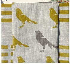 Mustard and gray bird linen hand screen printed by CelinaMancurti
