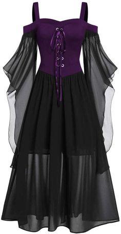 Damen Retro Punk Lolita Mädchen Lang Ärmel Cosplay Kostüme Kleid with Halskette
