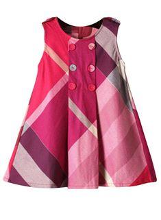 Amazon.com: Yinggeli Little Baby Girls Long Sleeve Plaid Checked Princess Dress: Clothing