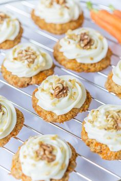 Amazing Carrot Cake Cookies with Cream Cheese Frosting! #cookies #easterrecipe #recipes #dessert #carrot