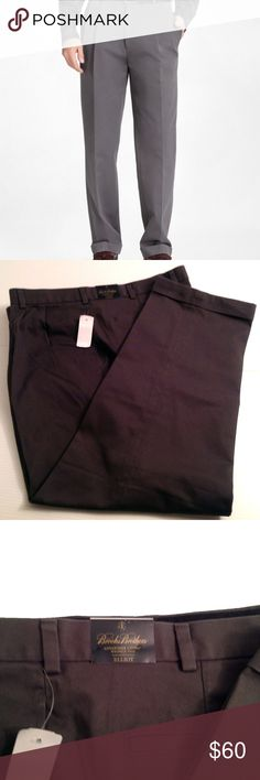 BROOKS BROTHERS Gray Advantage Chinos Brooks Brothers Advantage Chinos Model/Style: Elliot Cut 100% Cotton Wrinkle Resistant Back Welt Pockets On-Seam Pockets Sits at Natural Waist Pleated Front Finished with a cuffed hem Size: 42 waist; 32 inseam Note: New with Tags.   Thanks for Stopping By! Brooks Brothers Pants Chinos & Khakis