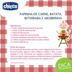 Chicco Brasil Papa Baby, Baby Kids, Mother And Baby, Having A Baby, Baby Food Recipes, Kids And Parenting, Kids Meals, Food And Drink, Health Fitness