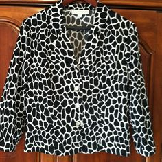 Black & white jacket Black & white pattern.  4 buttons in front. 3/4 length sleeves.  Polyester/rayon. Jackets & Coats
