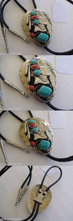 Southwestern 164301: Bolo Tie, Leather Southwest, Indian-Head Dress 1-Turquoise,1 Coral, Nos -> BUY IT NOW ONLY: $35.95 on eBay!