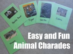 "Animal Charades DIY from A mom with a lesson plan: Her directions ""To play Animal Charades  1.  Pick someone to go first (or if you have a Little M… let her dictate the order.)  2.  Look at the card… don't let anyone see.  3.  Act out the animal while everyone guesses.    That's it.  So much fun.  We played so many times that I added a variation.  We brought out the drawing board and drew the animals instead of acting them out.  It was equally fun… and funny. """