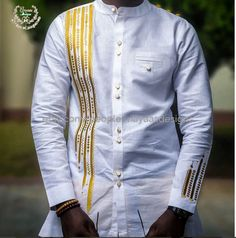 White and gold Men African Fashion Wear African Clothing Mens Special occasion Wear African Print Wear African Shirts For Men, African Attire For Men, African Men Fashion, African Wear, African Dress, African Women, Ankara Fashion, African Style, Modern African Clothing