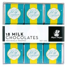 A bulk box of 8 packs of Napolitain Box With Compliments Milk 18pc. Each pack contains 18 squares.