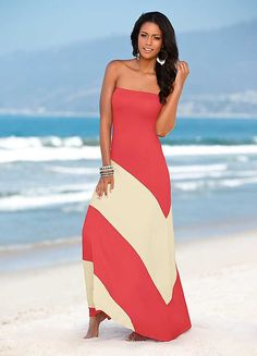 Two Tone Bandeau Maxi Dress