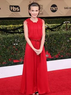 The young actress chose a red Emporio Armani gown with