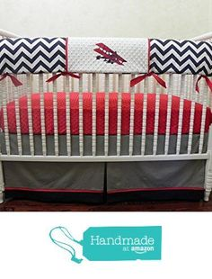 Nursery Bedding, Bumperless Baby Crib Bedding Set - Airplane Crib Bedding, Baby Boy Bedding, Teething Rail Guard, Navy Chevron, Red and Gray from Just Baby Designs Inc http://www.amazon.com/dp/B01CYXWTN6/ref=hnd_sw_r_pi_awdo_sdEbxb0VJVP2Q #handmadeatamazon trendy family must haves for the entire family ready to ship! Free shipping over $50. Top brands and stylish products 🌿