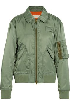 The model looked ready for action in a khaki bomber jacket as she stepped out for meetings in the city on Wednesday, with skinny leather leggings Army Green Bomber Jacket, Green Utility Jacket, Flight Bomber Jacket, Green Jacket, Military Jacket, Military Green, Olive Jacket, Green Fashion, Jacket Style