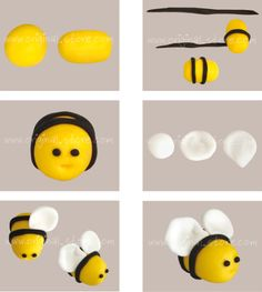 Modeling a bee in sugar paste - Cake Decorating Simple Ideen Fondant Bee, Fondant Cake Toppers, Fondant Figures, Fondant Cakes, Cupcake Cakes, Polymer Clay Animals, Polymer Clay Crafts, Cake Decorating Techniques, Cake Decorating Tips
