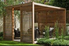 The pergola kits are the easiest and quickest way to build a garden pergola. There are lots of do it yourself pergola kits available to you so that anyone could easily put them together to construct a new structure at their backyard. Diy Pergola, Wood Pergola, Outdoor Pergola, Outdoor Rooms, Outdoor Gardens, Outdoor Living, Pergola Garden, Pergola Lighting, Corner Pergola