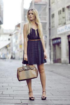 brown slim belt in dark blue dress