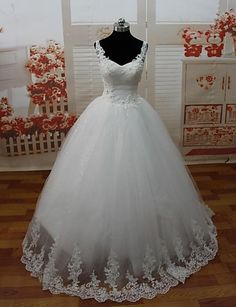 A-line Spaghetti Straps Floor-length Wedding Dress (Lace/Tulle) – USD $ 199.99