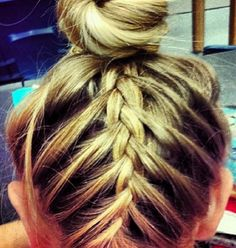 Hair braid into the bun