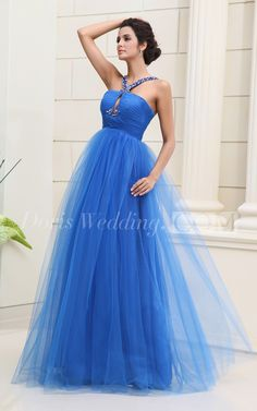 Sleeveless Tulle A Line Long Prom Dress With Beaded Straps. #blue #DorisWedding.com
