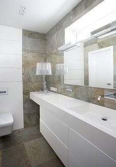 nice bathroom with stone and white bespoke furniture by n-design.pl
