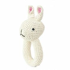 Cream Crochet Rabbit Ring Rattle by Ann-claire Petit.
