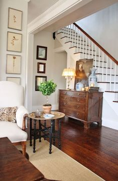 Staircase Wall. Include a dresser, case good for extra storage. Not cluttered. Possible to use as enclosed bar for entertaining?   BM Ashwood
