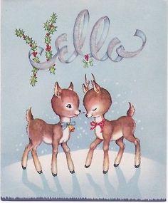 Vintage Christmas Greeting Card Reindeer Flocked