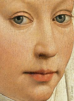 Rogier van der Weyden - Portrait of a Woman with a Winged Bonnet - Detail