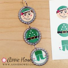 Annie Howes Photo Jewelry Making: Easy to Make Bottle Cap Christmas Ornaments. Bottle Cap Jewelry, Bottle Cap Art, Bottle Cap Images, Beer Bottle, Holiday Ornaments, Holiday Crafts, Holiday Fun, Bottle Cap Projects, Bottle Cap Crafts