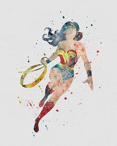 Wonder Woman Watercolor Art