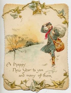 Charming Original Victorian Die Cut New Year Card Postman in The Snow Vintage Happy New Year, Happy New Year Cards, New Year Greeting Cards, New Year Greetings, Vintage Greeting Cards, Vintage Christmas Cards, Vintage Postcards, Christmas Postcards, Christmas Mail