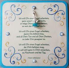Gastgeschenk Engelskarte 01 mit Fadengrafik und Spruch + Engelchen-Anhänger - Doppelkarte 13,5 x 13,5 cm